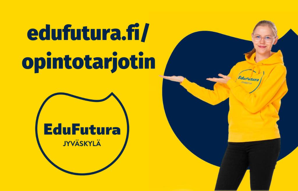 Opintotarjottimen mainoskuva, tyttö osoittaa tekstiä, jossa lukee edufutura.fi/opintotarjotin.