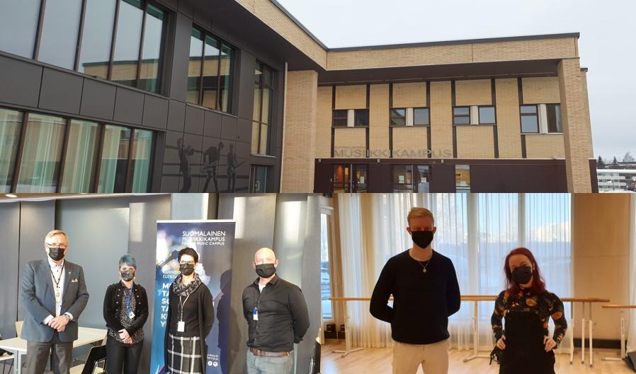 Musiikkikampuksen rakennus, oppilaitosten johtajia ja opiskelijoita.